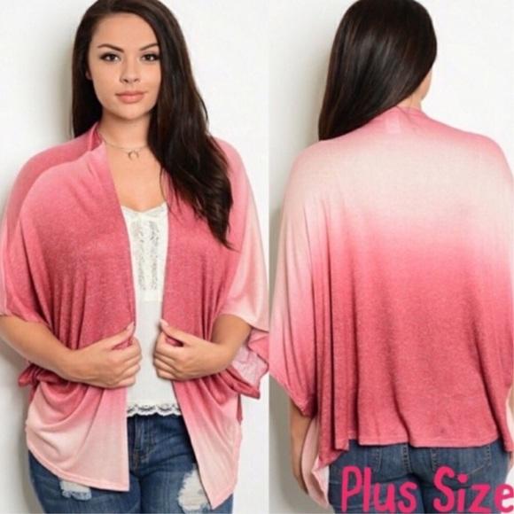 Sweaters - Plus Size Pink Ombré Cardigan